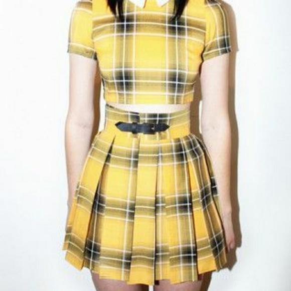 9a3566dcc1 Deandri Dresses & Skirts - Deandri Nancy Plaid Yellow Skirt